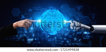 3D rendering artificial intelligence AI research of robot and cyborg development for future of people living. Digital data mining and machine learning technology design for computer brain. Royalty-Free Stock Photo #1721499838