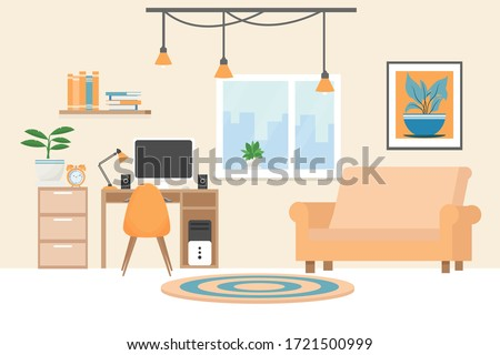 Modern interior in bright colours with workplace, computer, lamp, cozy sofa, chair, bookshelf, books stock vector illustration. Elegant room for your design. Royalty-Free Stock Photo #1721500999