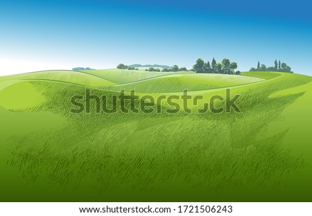 Green grass field on small hills with  blue sky. Meadow, alkali, lye, grassland, pommel, lea, pasturage, farm. Rural scenery landscape panorama of countryside pastures. Vector watercolor realistic Royalty-Free Stock Photo #1721506243