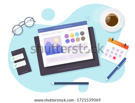 Image photo editingsoftware online on digital tablet computer vector above designer workplace table desk or artist desktop picture creating and drawing program top view flat, concept of art studio