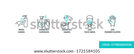 Prevention line icons set isolated on white. outline symbols Coronavirus Covid 19 pandemic banner. Quality design elements mask, gloves, distance, wash disinfect hands, stay home with editable Stroke #1721584105