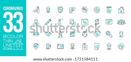Prevention and symptoms Coronavirus Covid 19 line icons set isolated on white. Perfect outline health medicine symbols pandemic banner. Quality design elements virus treatment with editable Stroke #1721584111