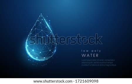 Falling drop of water. Low poly style design. Abstract geometric background. Wireframe light connection structure. Modern 3d graphic concept. Isolated vector illustration. Royalty-Free Stock Photo #1721609098