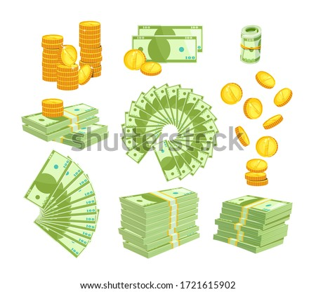 Set Various Kind of Money Isolated on White Background. Packing and Piles of Dollar Banknotes, Fan of Paper Bills. Gold Coins Falling Down and Stack. Currency Objects Icons Cartoon Vector Illustration #1721615902