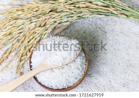 Top view of wooden spoon with rice on rice in wooden bowl on rice and rice ears background, Natural food high in protein #1721627959