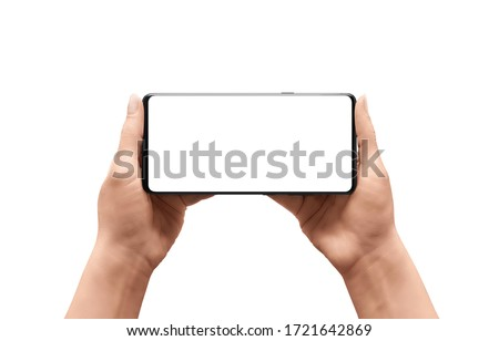 Isolated phone mockup in woman hands. Horizontal position. Isolated display and background Royalty-Free Stock Photo #1721642869