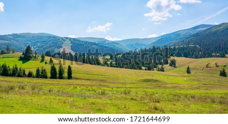 mountainous countryside at high noon. beautiful rural scenery with trees and fields on the rolling hills at the foot of the ridge. nature and sustainability development concept #1721644699