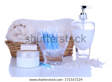 Bath accessories isolated on white #172167224