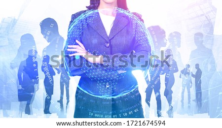 Unrecognizable young businesswoman and her diverse team working together in abstract city with double exposure of internet interface. Concept of leadership and communication. Toned image #1721674594