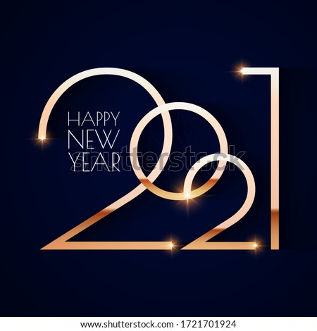 Happy new 2021 year! Elegant gold text with light. Minimalistic text template. #1721701924