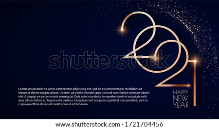 Happy new 2021 year! Elegant gold text with light. Minimalistic text template. Royalty-Free Stock Photo #1721704456
