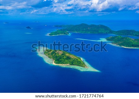 Aerial view of the paradise coast of Busuanga island with beautiful beaches, Coron, Palawan, Philippines #1721774764