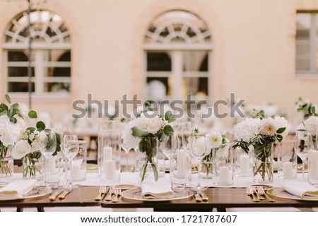wedding reception party banquet table coverage. Luxury wedding reception in Italy. wedding banquet decoration background. #1721787607