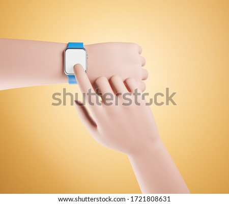 Cartoon hand with smart watch over yellow background. Second hand touch empty white blank screen. 3d render illustration.