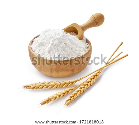 Wheat flour in wooden bowl and ears isolated on white Royalty-Free Stock Photo #1721818018
