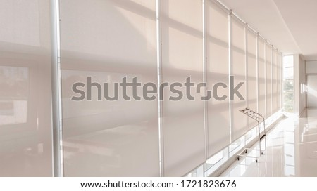 Abstract background of sunshade curtain in building, Sunproof curtain in office #1721823676