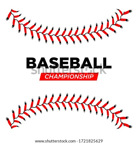 Baseball lace ball illustration isolated symbol. Championship baseball background sport design concept. Vector illustration eps 10