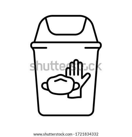 Trash can with latex glove, face mask. Disposal of medical supplies. Linear illustration of special bin for throwing out used individual protective equipment in hospital, clinic. Contour vector icon #1721834332