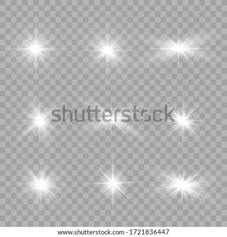 White glowing light explodes on a transparent background. Sparkling magical dust particles. Bright Star. Transparent shining sun, bright flash. Vector sparkles. To center a bright flash. #1721836447