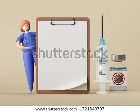 3d render. Woman doctor cartoon character stands near the big blank clipboard, vaccine syringe. Clip art isolated on beige background. Healthcare consultation. Prescription mockup. Medical concept