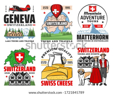 Switzerland travel to Swiss alps mountains vector icons. Switzerland map, architecture, culture and food. Geneva and Zurich landmark tours, Swiss culture and traditions, cheese and Matterhorn skiing Royalty-Free Stock Photo #1721845789