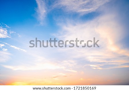 Sunset sky for background or sunrise sky and cloud at morning. Royalty-Free Stock Photo #1721850169