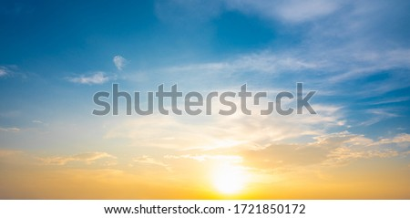 Sunset sky for background or sunrise sky and cloud at morning. Royalty-Free Stock Photo #1721850172