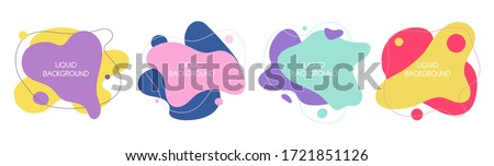 Set of 4 abstract graphic liquid elements in memphis style. Dynamical waves colored fluid shapes. Isolated banners with flowing liquids. Template for the design of a logo, flyer or presentation.  #1721851126