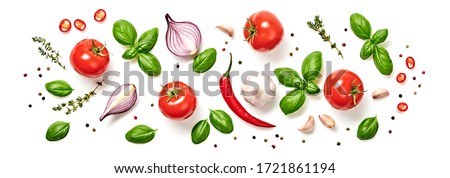 Tomato, basil, spices, chili pepper, onion, garlic. Vegan diet food, creative composition isolated on white. Fresh basil, herb, tomatoes pattern layout, cooking concept, top view. #1721861194