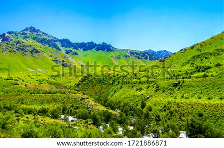 Mountain green valley landscape. Green mountain hill valley scene #1721886871