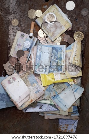 Different currencies and countries. Coin and notes #1721897476