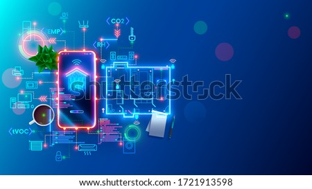 Development smart home and IOT system. Setup and configuration work scenarios internet of things in domestic house. Engineering and programming of app IOT. devices controlled smartphone in network. #1721913598