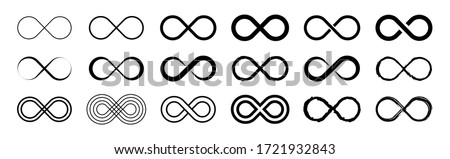 Set of infinity icons. Unlimited infinity, endless, logos. Vector illustration. Royalty-Free Stock Photo #1721932843