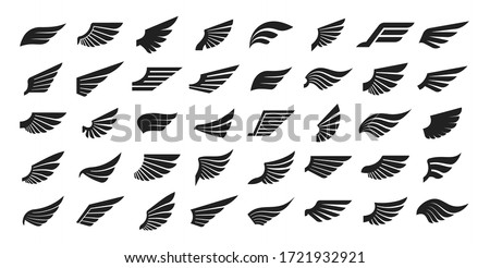 Set of black wings icons. Wings badges. Collection wings badges. Vector illustration. #1721932921