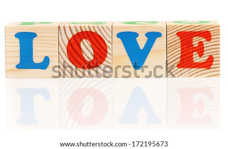 Word love with colorful blocks isolated on a white background #172195673
