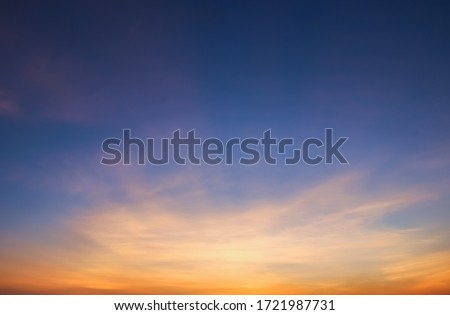 Twilight sky in the evening with colorful clouds fluffy,dusk sky. Royalty-Free Stock Photo #1721987731