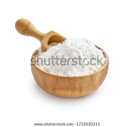 Wheat flour in bowl and spikelets isolated on white Royalty-Free Stock Photo #1722030211