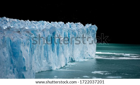 Icy landscape (Iceberg&forest) of El Calafate, the town near the edge of the Southern Patagonian Ice Field in the Argentine province of Santa Cruz known as the gateway to Los Glaciares National Park.