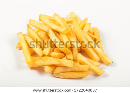 sliced potatoes, fries, fried with salt, on an isolated white background #1722040837