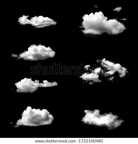 Set of isolated white clouds against black background #1722100480