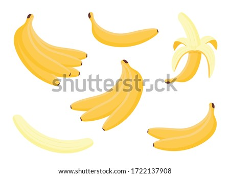 Group peeled and bunch of bananas isolated on white background. Tropical fruits, banana snack or vegan nutrition. Cartoon set vector illustration. #1722137908