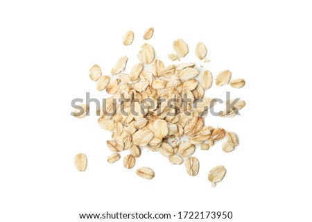 Oatmeal flakes bunch isolated on white background #1722173950