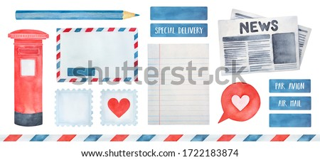 Big illustration pack on Postage theme with various postal symbols, seamless striped frame, stamps, air mail stickers, post marks. Hand drawn watercolour graphic paint, cut out elements for design.
