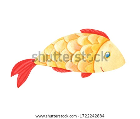 Watercolor bright goldfish Isolated on a white background. Beautiful funny cartoon character.Cute watercolour marine illustration for children.
