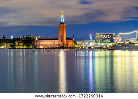 City Hall on the waterfront in the night lighting. Stockholm. Sweden. #1722260314