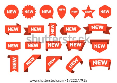 New arrival stickers and labels flat icon kit. Isolated red retail ribbons for promotion vector illustration collection. Discount and price offer concept #1722277915