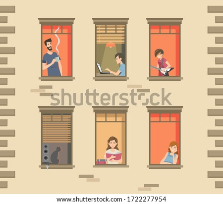 Apartment building facade with neighbor people and cats in open windows. Men and women drinking coffee, reading, talking. Vector illustration for staying at home, quarantine, communication concept #1722277954