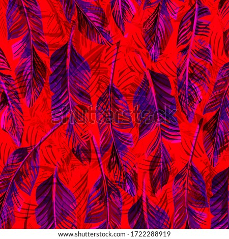 tropical palm leaves on a white background. Beautiful beach wallpaperfor textile #1722288919