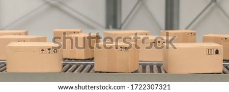 Packages delivery, packaging service and parcels, cardboard boxes on conveyor belt in warehouse, transportation system concept image #1722307321