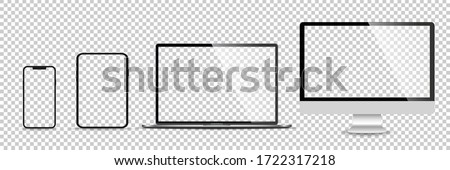 Realistic set of monitor, laptop, tablet, smartphone - Stock Vector illustration. Royalty-Free Stock Photo #1722317218